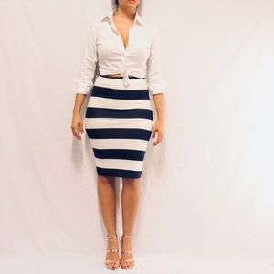 white and blue pencil skirt